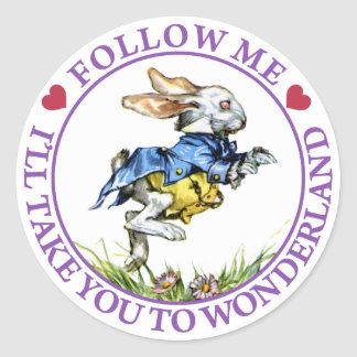 Follow me - I'll take you to Wonderland! Round Sticker