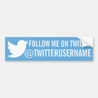 Follow Me On Twitter (Customizable Username) Bumper Sticker