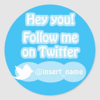 Follow Me On Twitter Items Classic Round Sticker