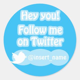 Follow Me On Twitter Items Round Sticker