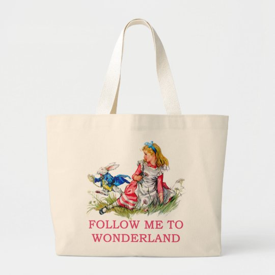 FOLLOW ME TO WONDERLAND LARGE TOTE BAG