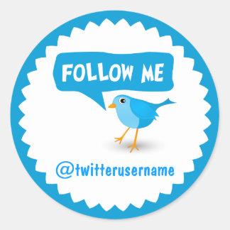Follow Me Twitter Blue Bird Cool Round Stickers