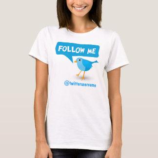 Follow Me Twitter Blue Bird Womens T-Shirts