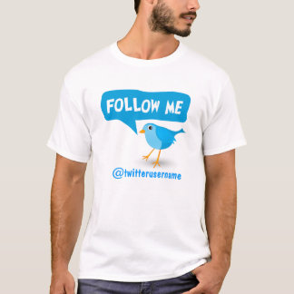Follow Me Twitter Cute Little Cartoon Blue Bird T-Shirt