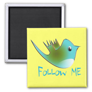 Follow ME Twitter  Gifts and Swirls T-shirts Square Magnet