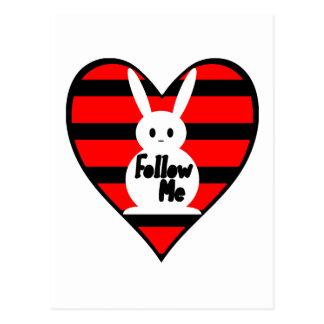 Follow Me White Rabbit Post Cards