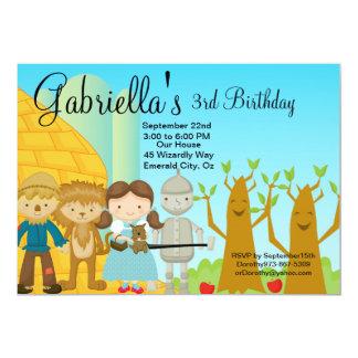 """Follow the Golden Brick Road Birthday Invite 5"""" X 7"""" Invitation Card"""
