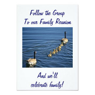 FOLLOW THE GROUP TO FAMILY REUNION 13 CM X 18 CM INVITATION CARD