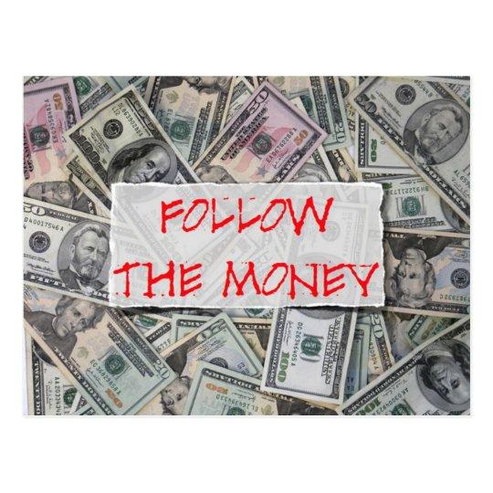 follow the money postcard