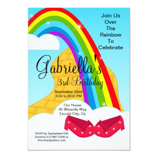 Follow the Rainbow Brick Road Birthday Invite