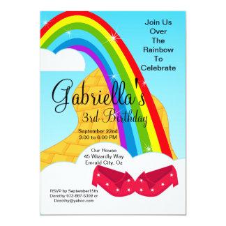 Follow the Rainbow Brick Road Birthday Invite