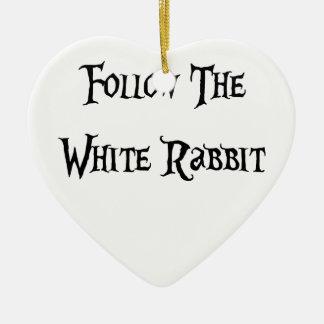 Follow the White Rabbit Alice Christmas Ornament