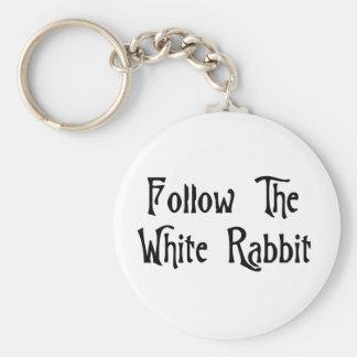 Follow The White Rabbit Basic Round Button Key Ring
