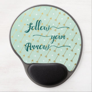 Follow Your Arrow Gel Mousepad in Mint and Gold Gel Mouse Mat