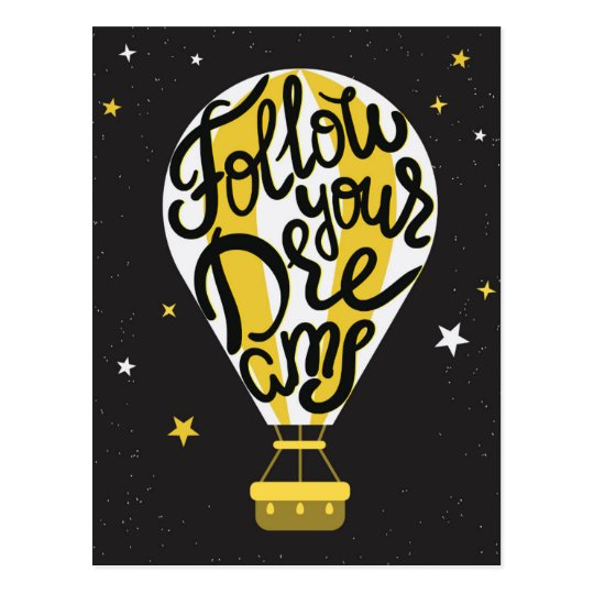 Follow Your Dreams Balloon Postcard