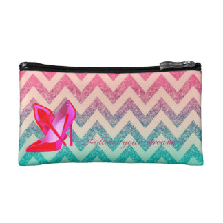 Follow your dreams, Glittery,Zigzag, Heels Cosmetic Bag