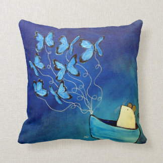 Follow Your Dreams Mouse Butterfly Whimsical Throw Pillow