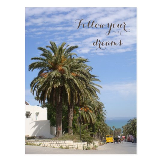 Follow your dreams Postcard with Palm trees alley