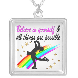FOLLOW YOUR FIGURE SKATING DREAMS DESIGN SQUARE PENDANT NECKLACE