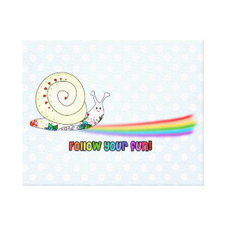 Follow Your Fun Cute Snail following the Rainbow Canvas Print