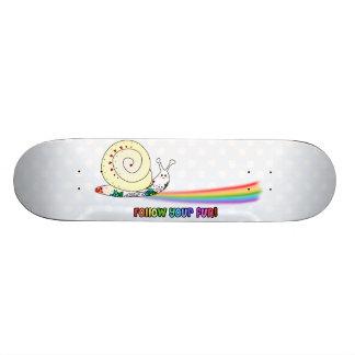 Follow Your Fun Cute Snail following the Rainbow Skateboard