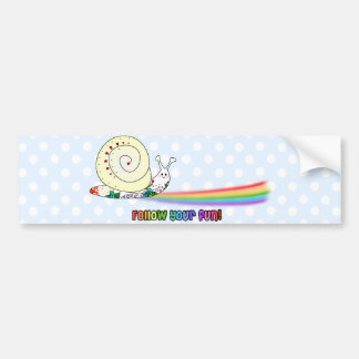 Follow Your Fun Cute Snail Rainbow Bumper Sticker