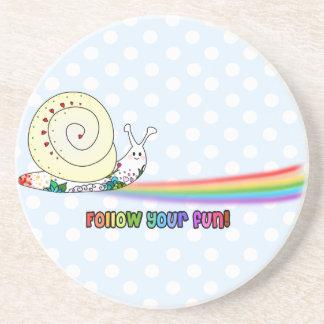 Follow Your Fun Cute Snail Rainbow Coaster