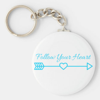 Follow Your Heart Basic Round Button Key Ring
