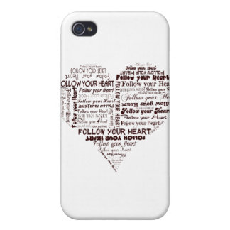 Follow Your Heart Black and White iPhone 4 Cover