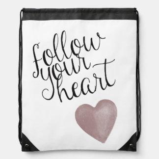 Follow Your Heart Drawstring Bag