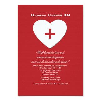 Follow Your Heart Nursing School Graduation Inv. 13 Cm X 18 Cm Invitation Card