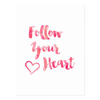 Follow Your Heart Pink Watercolor Quote Template Postcard