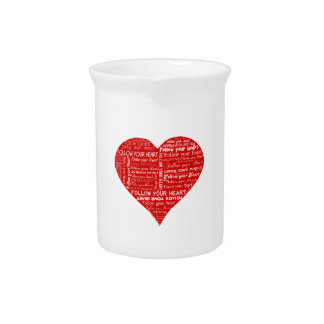 Follow Your Heart - Red and white love heart Pitcher