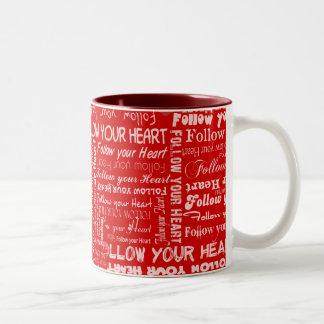 Follow Your Heart (Red) Two-Tone Coffee Mug