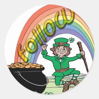 Follow your rainbow round stickers