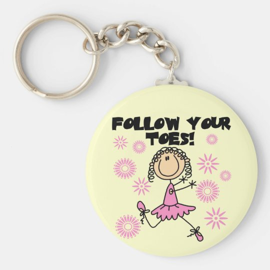 Follow Your Toes Ballerina Tshirts and Gifts Basic Round Button Key Ring