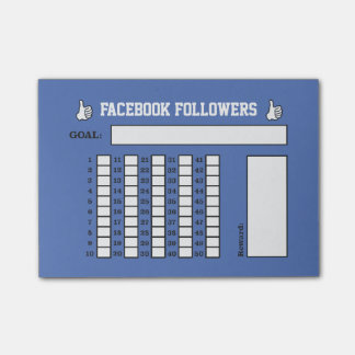 Followers/Likes Goal Tracker Post-it Notes