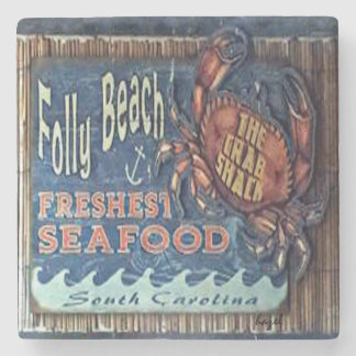 Folly Beach, Crab Shack Marble Coaster. Stone Coaster