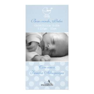Fond card of the Baby Boy Photo Card Template