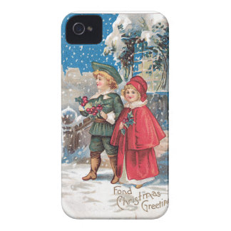 Fond Christmas Greeting Vintage Card iPhone 4 Case-Mate Case