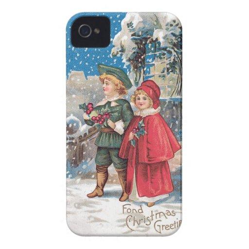 Fond Christmas Greeting Vintage Card Case-Mate Blackberry Case