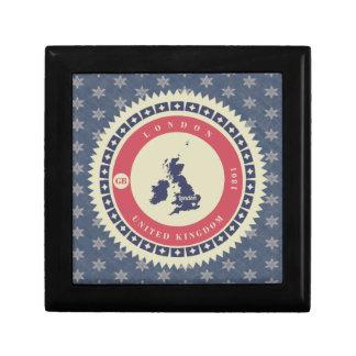 Fondo azul estrellas y label de Londres Caja De Regalo