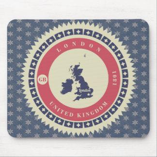 Fondo azul estrellas y label de Londres Mousepad