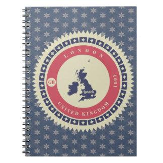 Fondo azul estrellas y label de Londres Spiral Notebook