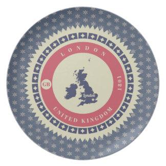 Fondo azul estrellas y label de Londres Plato Para Fiesta