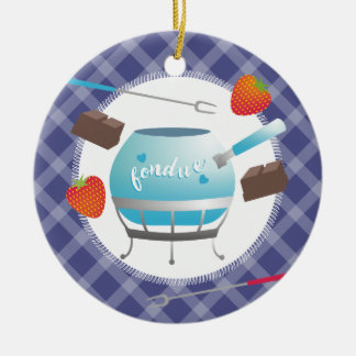 Fondue chocolate strawberries Christmas ornament