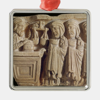 Font depicting an unguent seller christmas ornament