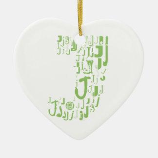 Font Fashion J Ceramic Heart Decoration