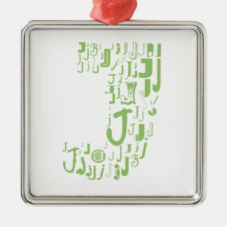 Font Fashion J Silver-Colored Square Decoration
