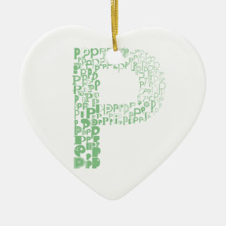 Font Fashion P Ceramic Heart Decoration